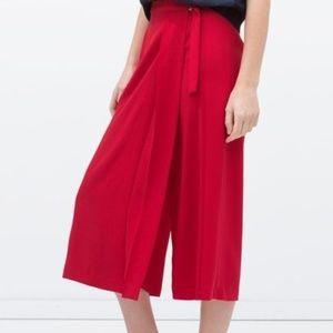 Zara Red Buckle Sarong Skort Palazzo Pants XSmall